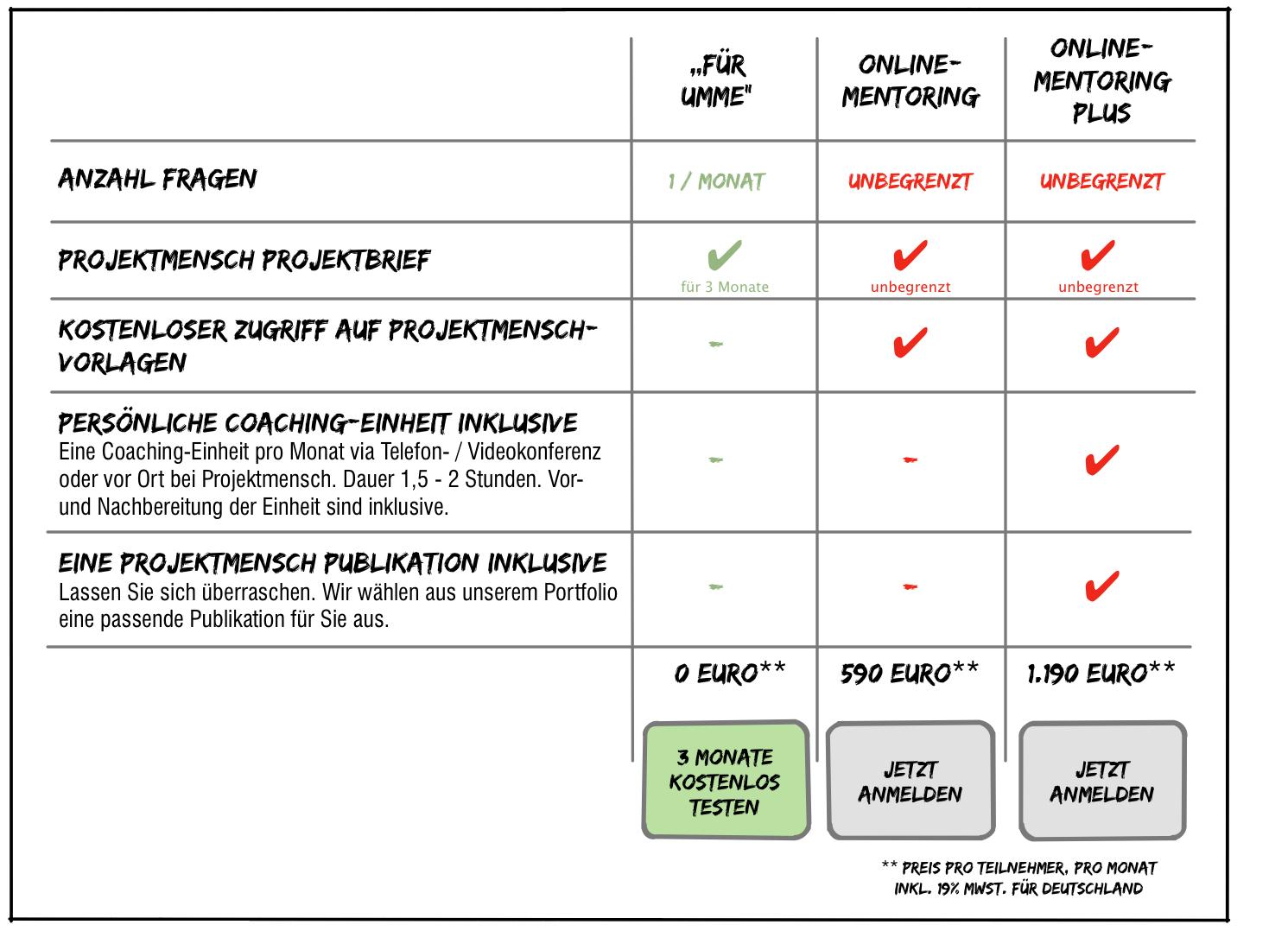 Das Projektmensch Online-Mentoring. Feedback, Antworten, Impulse, Vorlagen. Unkompliziert.